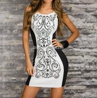 Plus Size 2014 New Fashion Women Retro Printed Black & White Patchwork Casual Bodycon Dress Sexy Summer Tank Club Dresses 0422