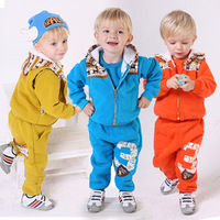 Free Shipping Cotton sport autumn and spring sweatshirt three pieces clothing set 0-3 years old unisex child baby dress
