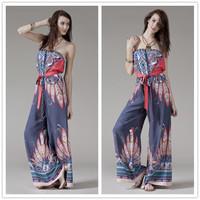 Bohemia jumpsuit boot cut wide leg pants palazoo Women's trousers Tropical style Aztec full rayon have belt - 02