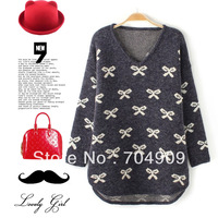 Fashion sweet 2014 V-neck bow pattern pullover knitted student spring sweater free size free shipping