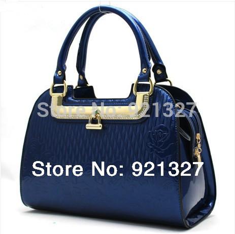 2014 New women leather handbags female shiny lock messenger bags handbags women famous brands bolsas femininas Free shipping(China (Mainland))