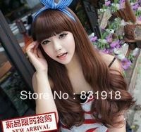 South Korea live model fashion style long hair fluffy wig repair face COSPLAY