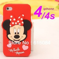 Best Seling Minnie Mickey Mouse Case Shell Skin For iPhone 4 4S Telephone Silicone Soft Cases Covers to iphone4 retail&wholesale