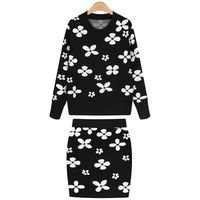 Aliexpress korean autumn and winter preppy new style black and white flower knitted sweaters set long-sleeve thick sweater sets