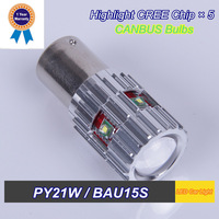 High Quality LED Car Light 2 PCS PY21W BAU15S Creex 5  High Power Turn Signal CANBUS Bulbs White Yellow Red For Skoda