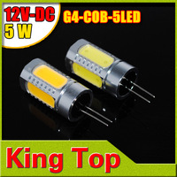4Pcs/Lot DC12V 5LED 5W G4 COB Corn Light Lamp Corn Bulb for Car Chandelier Crysta llights Warm white/White Free Shipping