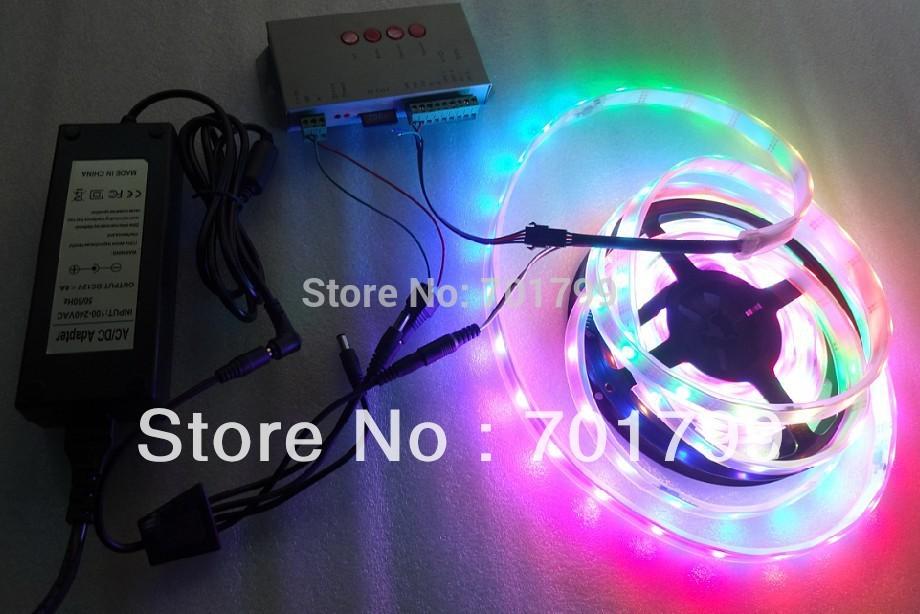 5m DC12V IP68 30leds/m INK1003 led pixel srip+T-1000S controller+12V/5A power adaptor lighting kit(China (Mainland))