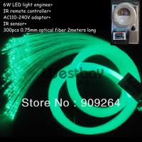 300PCS*0.75MM LED fiber optic star ceiling kit with 2m long fiber+5W light engine+ remote contoller+16 color
