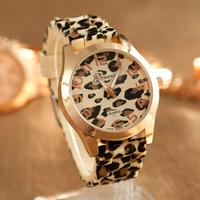 10 PCS/LOT Hot sales luxury Geneva women's leopard gold case brand watch ladies rubber silicone gel jelly dress wristwatch WTH12