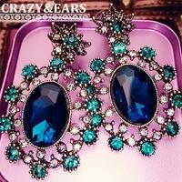 Retro fashion Bohemian Baroque palace peacock blue and green earrings earrings luxury gas field earrings 50% off