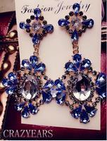 Locke big gas field personality style retro palace exaggerated fashion pattern rhinestone earrings earrings 50 % off