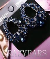 Korean fashion  temperament elegant luxury sapphire blue flash exquisite diamond drop earrings earrings earrings hollow 50% off