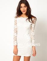 New Arrived !! The Fashion Sexy Chiffon Slash Neck Dress Women long sleeve dresses 6 colors Free-shipping