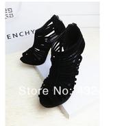 New 2014 fashion Gladiator Black ultra high heels platform sexy   female Zip Soft Leather sandals Women shoes Wholesale