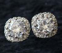 Brand Jewelry Women's White Sapphire Stone CZ Pave Set 18K Gold Plated Earrings Studs