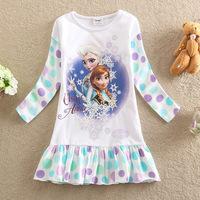 2014 New Arrival Frozen Girls Clothes Elsa & Anna Princesa Girl Dress Cute Toddler Autumn Dot Dresses