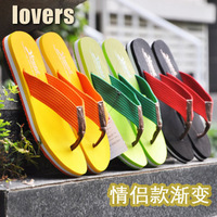 2014 New Slip-Resistant Lovers Gradient Flip Flops Summer Male Female   Flat Beach Slippers Sandals