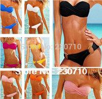 Fashion Brand woman Sexy bikini with PAD Hot swimsuits Ladies Padded Bra Low Rise swimwear beachwear 9 colors FZ 171