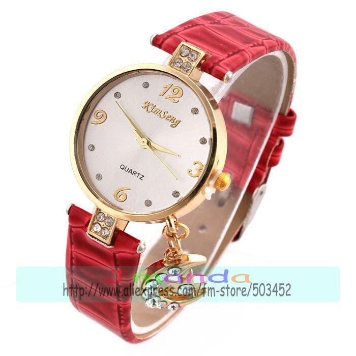 100pcs/lot Moon Pendant Crystal Leather Watch Snake Print Gold Case Casual Quartz Watch Kimseng Brand Original Dress Watch(China (Mainland))