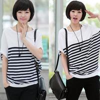 New 2014 summer casual women short sleeved t shirt bat sleeve striped cotton women clothing tops women clothing plus size XXXXL