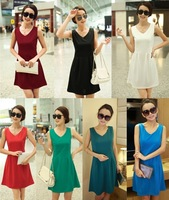 Wholesale 2014 new Women's Slim waist chiffon girl summer dress sleeveless vest bottoming 7color