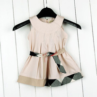 Free Shipping(5pcs/lot) New Arrival Baby Girls Classical Plaid Dresses Baby Sleeveless dress kids plaid summer dress 4 colors