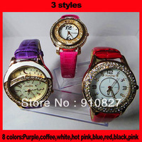 women rhinestone watches fashion quartz watch casual watches 8 colors leather strap wholesale 500pcs free shipping