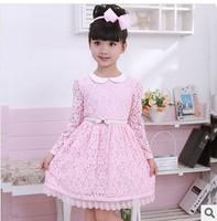Retail wholesale 2014 baby girls spring autumn princess dress girls lace dress kids children's long sleeve lace dress 2-8years