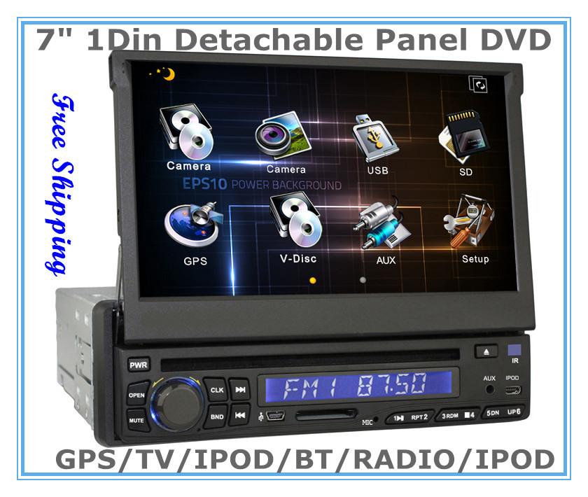 "7"" 1Din Detachable Panel Car Sat Nav Headunit DVD Player with GPS BT IPOD TV FM PIP SWC Option:DVB-T MPEG4 ATSC TMC Russian menu(China (Mainland))"