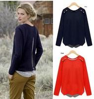 Autumn New long sleeve T shirt Women Clothing Navy Oversized XL XXL 3XL 4XL Items Spliced Two Piece Ladies Tops Freeshipping