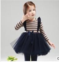 wholesale retail 2014 baby girls spring autumn princess dress girls lace dress children's long sleeve striped lace dress