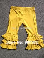 Newest Beautiful Kids Cotton Ruffle Pants,Girls knit cotton Ruffle Pants, Triple ruffled cotton pants for baby girls