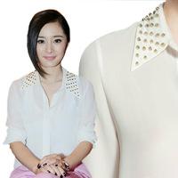 new 2013 shirt Rivet occupation OL style long sleeve blouse  rivets white chiffon shirt