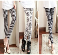 2013 New Women Leggings Vintage Milk Silk Pants Plaid Floral styles Fashion European Leggins Free shipping