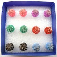 Multi-colored ultra-shiny spherical earrings hypoallergenic earrings earrings Free Shipping 55016