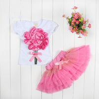 Free Shipping 4pcs / lot Girls Clothing Summer Skirt Sets Big Flower T-shirt + Tutu Skirt Rose Pink Green in Stock