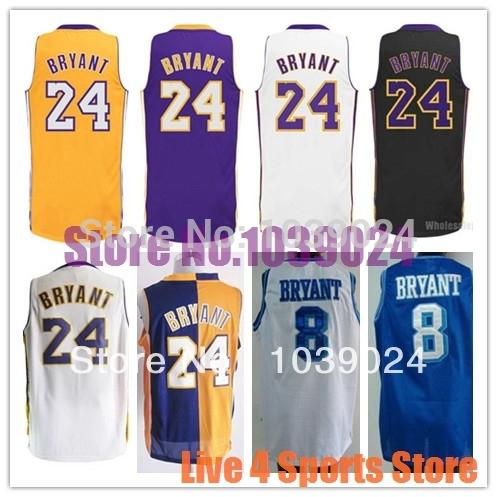 Los Angeles #24 Kobe Bryant Jersey Purple White Gold Yellow 2014 PRO Kobe Bryant Basketball Jersey 100% Polyester Best Quality(China (Mainland))