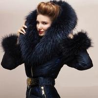 Luxury! 2013 winter new arrival women fashion big raccoon fur hooded duck down coat slim coats high street warm thick outerwear