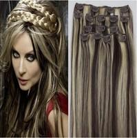 "15""18''20''22'' Human Hair Extension Clip in Hair Virgin Remy Straight Full Head darkest brown mix blonde Free PP"