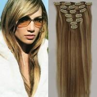 "Hair Extension Clip in Hair 15""18''20''22'' Human Virgin Remy Straight Full Head honey bleach blonde Free PP"