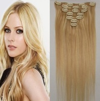 "Clip Hair Extension Virgin Remy Straight15""18''20''22''  Full Head strawberry blonde mix with bleach blonde 27/613"