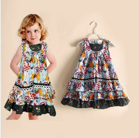 New 2014 Summer Girl Dress Brand Floral Beach Girls Dresses Fashion Kids Clothes Girls Clothing 100 % Cotton Children's Wear