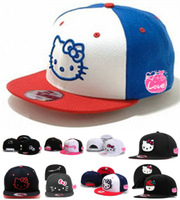(10 Pcs/Lot) Adjustable Fashion Hello Kitty Women Lady Girls' Basketball Hip Pop Snapback Caps,Many Colors