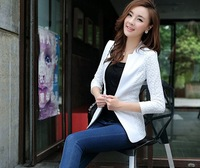 New Spring!!  Women Lace Floral Blazer Cotton Acrylic Made Collarless Design Lace Overlay on Sleeve Four Sizes Four Colours