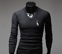 Fashion Men's Deer Embroidered Casual Slim T Shirt Long Sleeve V Neck T-shirt