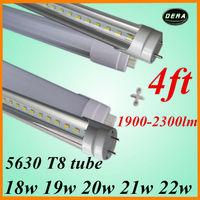 free shiping  100pcs t8 led tube 1200mm 18w 19w 20w 21w 22w led fluorescent lamp tube led SMD5630 85-265v 4ft  light bulb