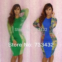 New Fashion 2014 Blue And Green Bandage Dress Sexy Flower Print Dress Long Sleeve Bodycon Women Clubwear Party Dress Plus Size