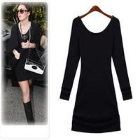 2014 New Dress Spring and Autumn Puls size dress clothing basic long sleeve o-neck black fashion dress XXXXL size