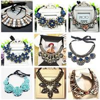2014 New Vintage Jewelry Blue Crystal Flowers Pendant Statement Necklace Hand Made False Collar Shourouk Bijouterie Choker