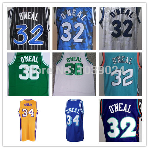 NWT Magic #32 Shaquille O'Neal Jersey Throwback White Black Stripe Blue All Star Stitched Best American Basketball Jersey Sale(China (Mainland))
